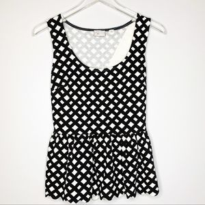 Anthro Postmark B&W Clovelly Peplum Top Small